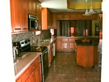 Tropical hardwood kitchen at Mile 8 Hummingbird Highway Belize
