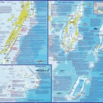 A very detailed map showing dive sites in Belize.