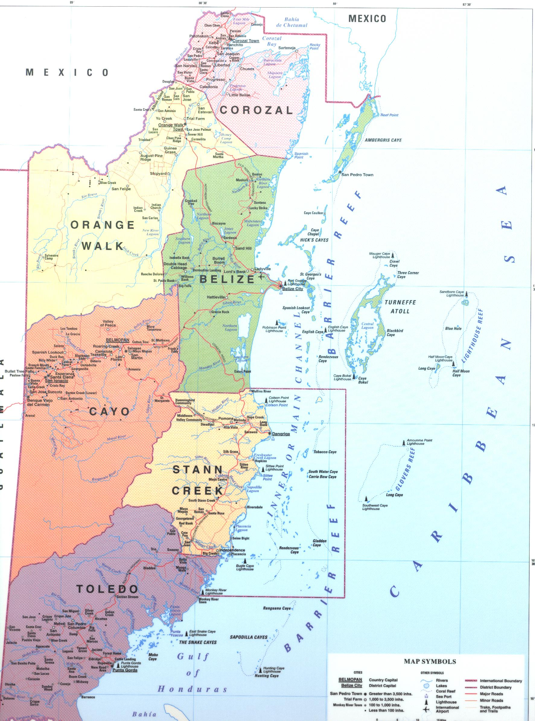 Maps of Belize District maps of Belize city and town maps of