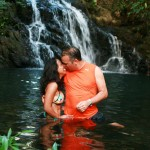 A couple enjoys an intimate moment at the top of Antelope Falls