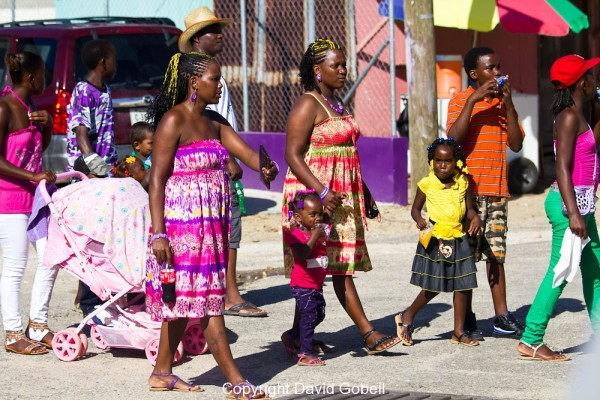 Garifuna Wearing Their Tradionally Colorful Attire During Settlement Day in Dangriga