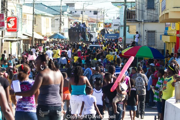 Dangriga's Main Street During the Annual Settlement Day Parade